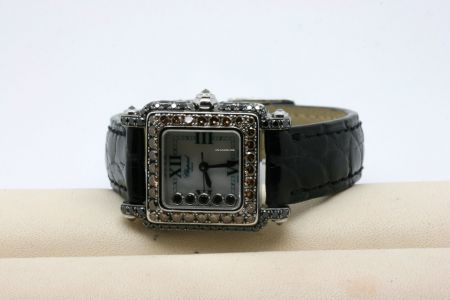 Chopard Happy Sport Square 18kt Weißgold Diamanten