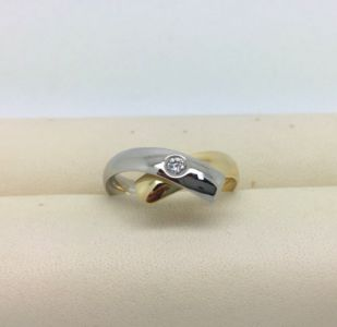 NIESSING Ring 18kt Gelbgold 950 Platin 0.10ct Brillant